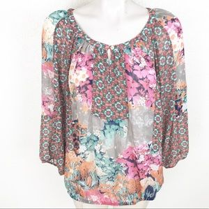 Fig & Flower Moroccan print boho sheer blouse A070